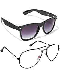 Magjons Fashion Combo Of Black Wayfarer And Clear Lens Aviator Sunglasses