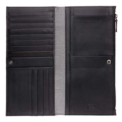 Antica Toscana Portefeuille pour Femme Très spacieux Long en Cuir Véritable avec Bouton Zip Porte-Cartes & Documents Noir