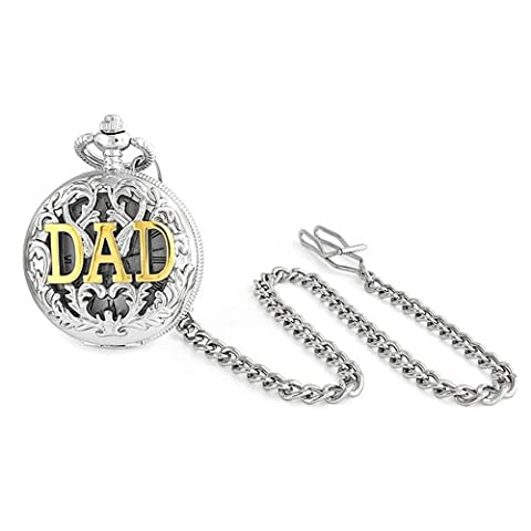 Large Two Tone DAD Gold Plated Simulated Quartz Mens Pocket Watch