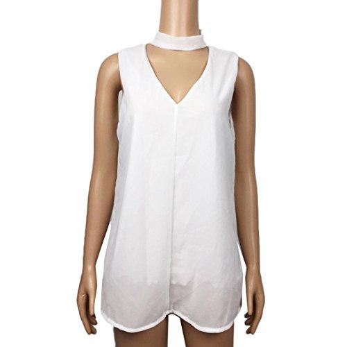 Rawdah Chiffon senza maniche delle donne sexy della maglia con scollo a V senza spalline camicetta White