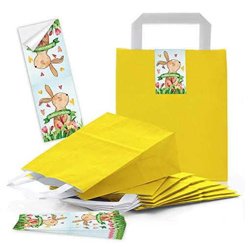 eine gelbe Verpackung Henkeltüte Papiertüte mit Griff 18 x 8 x 22 cm + Osternest Osteretiketten 5 x 14,7 cm Text Frohe Ostern Geschenk Aufkleber rot grün blau bunt ()