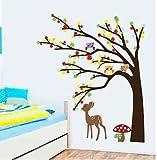 Wandtattoo Wald Sticker Tiere Baum Spielzimmer Bild Kitze Groß Kinderzimmer XXL(47)