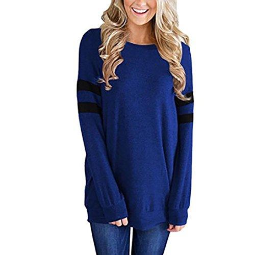 Damen Langarm, Frashing Damen Langarmshirt Damen Langarm T-Shirt Rundhals T-Shirt Casual Stretch Tunika Top Shirts für Herbst & Frühling Gestreiftes Hemd (S, Blau) (Sleeve Cardigan Stretch Jersey Long)