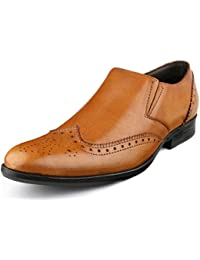 Escaro Men's 100% Genuine Leather Formal Brogue Slip On Dress Shoes