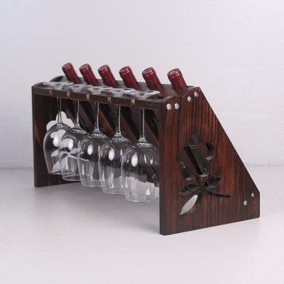 WENGKHF Verre à vin rouge rack porte-bouteilles bois décoration salle de séjour pendaison de crémaillère de verres à pied , 6 bottles , type