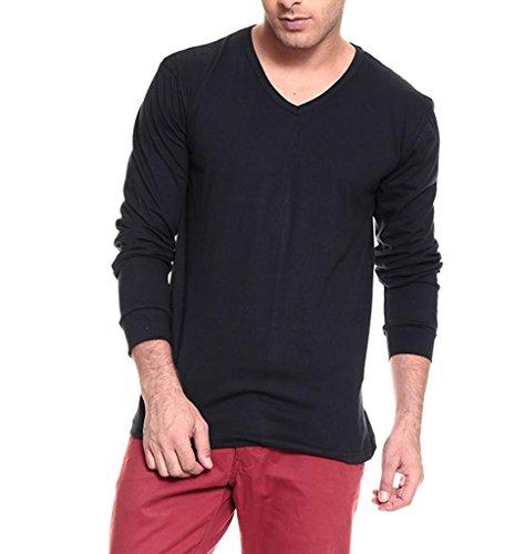 IZINC Izinic Men's V-Neck Cotton T-Shirt [Navy Blue_Small]