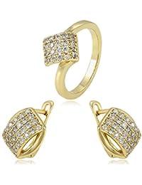 69c2130060a0 Conjunto Compuesto por Pendientes Y Anillo Oro Amarillo con Diamantes  ENGARZADOS DE 18 KILATES Mujer