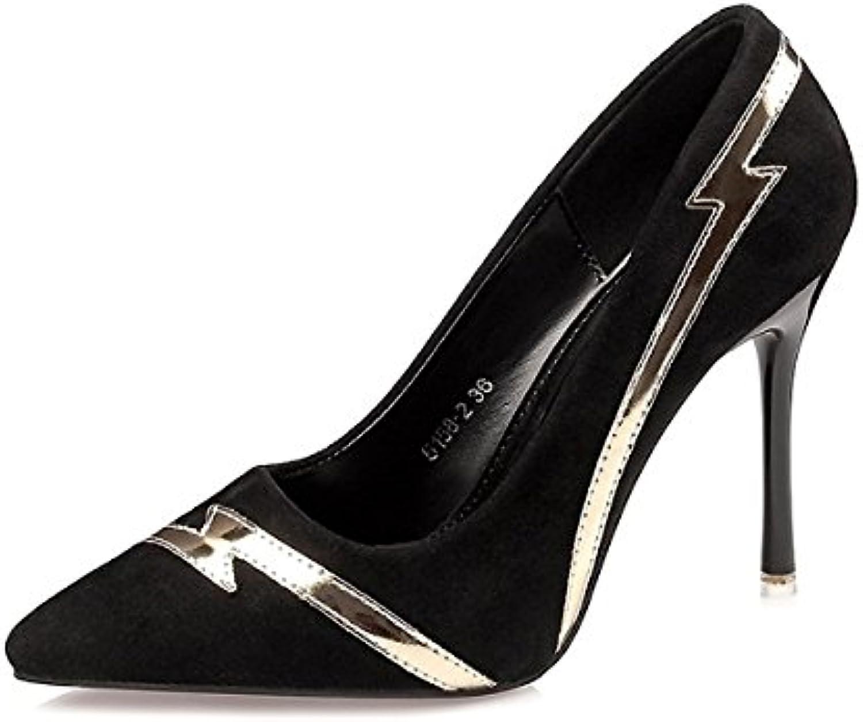 DIMAOL Damenschuhe Kunstleder Frühling Herbst Komfort Heels Stiletto Heel Schuhe für Kleid Khaki Rot Grau Schwarz