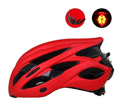 Helment YZ Fahrradhelm mit Warnleuchte Leichter stoßfester Sonnenschutz-Schutzgürtel Rücklicht Warnung Fahrradhelm