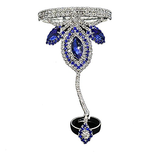 Contever® Vintage Armbänder Armreif Bracelet Harness Link mit Ring für Frauen (Blau)
