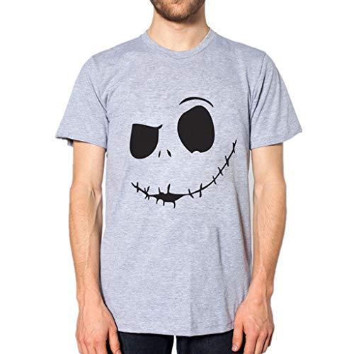 HWTOP T-Shirt Herren Kurzarm Sommer Shirt New Evil Smile Gesicht Gedruckt Oberteile Rundkragen Komfortable Top (Sweatshirt Star Death)