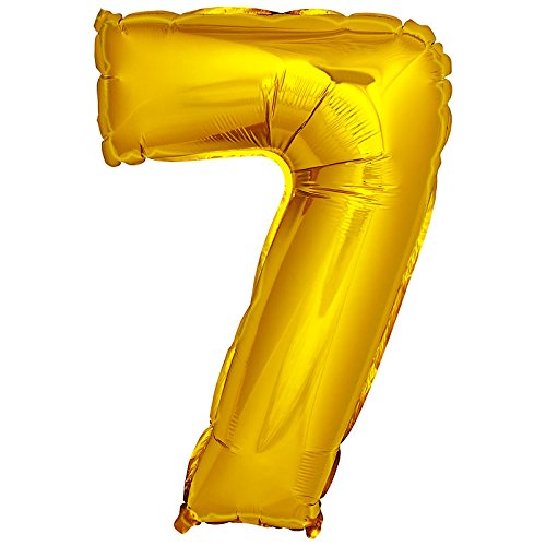 DekoRex® Folienballon Zahlenballon Luftballon Geburtstag Deko 40cm Gold Zahl: 7