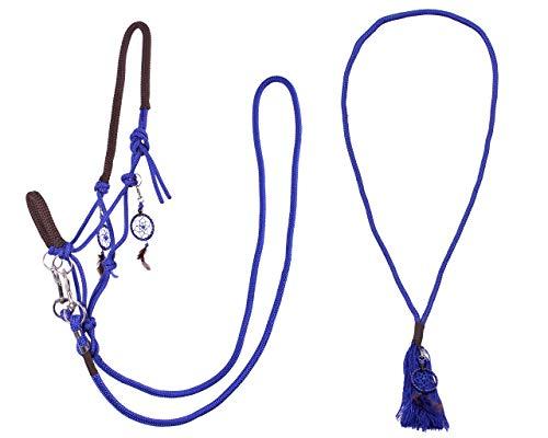 Arbo-Inox Knotenhalfter Zügel Halsring Kombiset Knotenhalfter-Set (Cob Vollblut, Blau)
