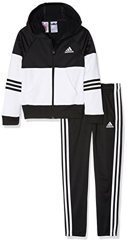 adidas Mädchen Hooded Trainingsanzug, Black/White, 128