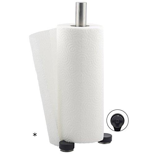 Haushaltsrollenhalter aus Edelstahl mit schwarzen Saugfüßen 33cm hoch Küchenrollenhalter Papierrollenhalter Rollenhalter Papier Abroller Küche Ständer