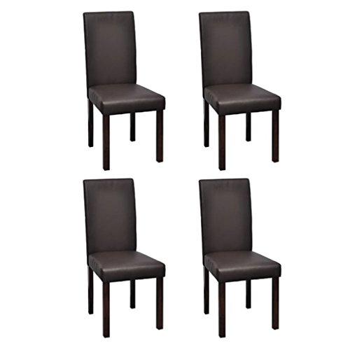 Vidaxl 4x sedie da pranzo in similpelle marroni classiche seggiole salotto