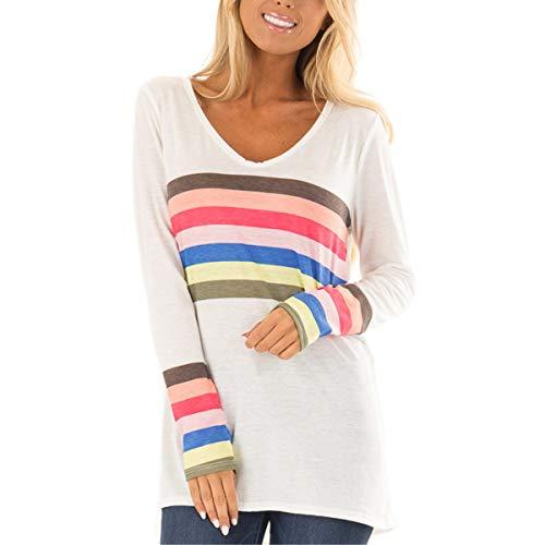 CNBJMAZA Regenbogen gestreifte V-Ausschnitt Langarm T-Shirts Frauen Casual Color Block Tunika Top - Hand Block Gedruckt Baumwolle Rock