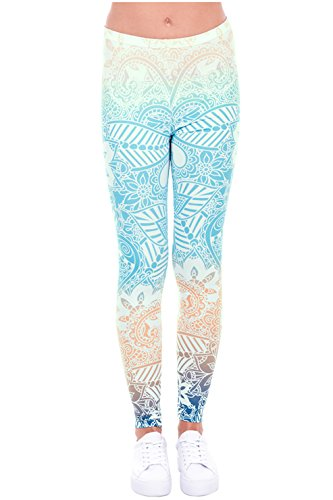 CHIC DIARY Damen bunt Sport Strumpfhose Leggings mit muster Fitness Yoga Joggen Pants Hose Mehrfarbig One size
