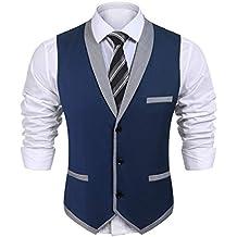 Wixens Hombre Chaleco Slim Fit Traje de Vestir Sin Manga Casual V-Neck  Blazers 0ac3b910c3fa