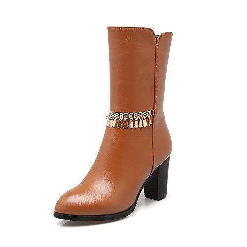 AllhqFashion Damen Rein Hoher Absatz Quadratisch Zehe Reißverschluss Stiefel mit Metallisch, Weinrot, 34