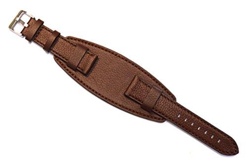 Uhrenarmband, schwer, Hochwertiges Büffelleder, 20 mm, Braun
