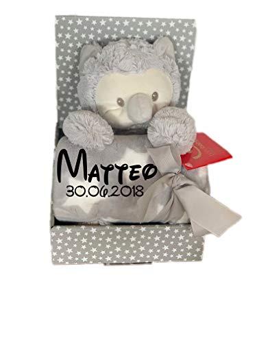 Name & Geburtsdatum bestickt (auf der Decke) inkl. Plüsch Stofftier - Geschenk Taufe Geburt (Eule/Grau) ()