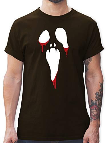 Halloween - Scream Halloween - XL - Braun - L190 - Herren T-Shirt und Männer - Scream Kostüm Braun