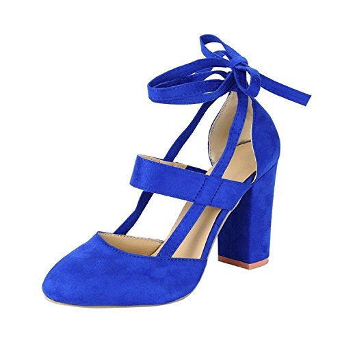 Minetom Damen Einfache Knöchel Riemchen Sandalen Schnüren Sich High Heels Party Chunky Pumps Stiefel Sandaletten Blau EU 38 (Heel Chunky Booties Damen)