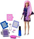Barbie FHX00 Haarfarben-Spaß Puppe (lila Haare) mit Farbwechsel inkl. Accessoires und Schablonen...