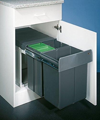 Wesco Einbaueimer Bio Trio Maxi 40 DT Abfallbehälter/Mülleimer Mit Softeinzug und Dämpfung