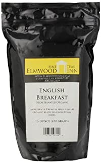 Elmwood Inn Fine Teas, English Breakfast Organic Decaffeinated Black Tea, 16-Ounce Pouch