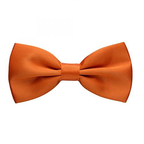 Rusty Bob - Fliege in Uni - Schleife gebunden und verstellbar (12cm x 6,5cm) - für die Hochzeit, die Konfirmation, zum Anzug oder Smoking - Orange / Apricot (Fliege Orange)