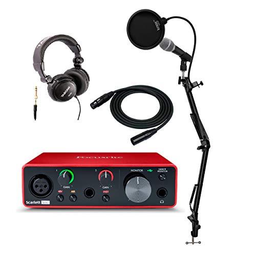 Focusrite Scarlett Solo 3. Generation USB Audio Interface Bundle mit Mikrofon, Knox Studio Ständer, Popfilter und Kopfhörer und XLR-Kabel (6 Stück) -