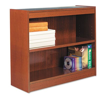 Square Corner Wood Veneer Bookcase, 2-Shelf, 35-3/8 x 11-3/4 x 30, Medium Cherry