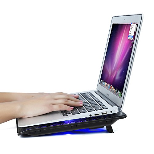 Mondpalast @ Notebook Kühler Laptop Cooling Pad Ständer Silent Laptopständer Kühlpad Kühlmatte mit blaue LEDs rutschfeste Gummifüße für Notebook Laptops unter 17 Zoll HP Lenovo Asus Dell Acer Macbook - 4