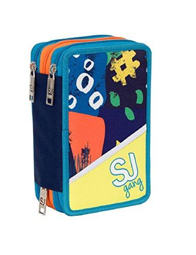 Estuche Escolar 3 Compartimentos Seven – SJ Boy – 3 Pisos – Amarillo Azul – con lápiz, marcadores, boligrafos.
