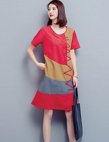 DESY Damen Lose Kleid-Lässig/Alltäglich Übergröße Einfach Einfarbig Rundhalsausschnitt Übers Knie Kurzarm Baumwolle Elasthan SommerMittlere Red