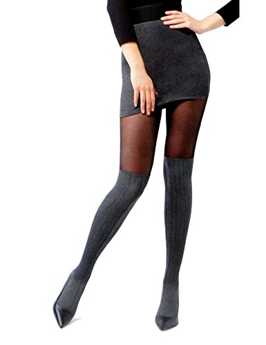 A.S.A.R. Blickdichte Damen Strumpfhose in Overknee Look mit Baumwolle 20/60 DEN Pantyhose Stockings Grau Schwarz