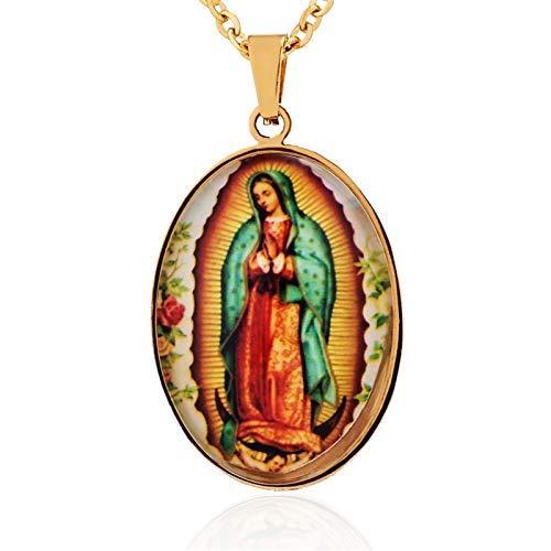 Inveroo Virgen Católica María Colgante Acero Inoxidable Rosario Nuestra Señora De Guadalupe Medalla Virgen María Collar para Mujeres Hombres Joyería