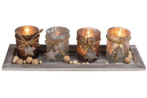 Kamaca XL Holzteller mit LED Kerzen und Dekoration - Set aus 4 Glas Kerzenhaltern und 4 LED Teelichtern Winter Advent Weihnachten (40 x 15 x 15 cm)