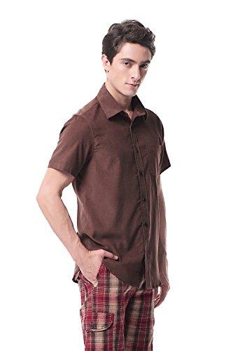 Pau1Hami1ton P-10 Herren Casual Langarm Hemd Baumwolle Cord Hemden Slim Fit Freizeit Cotton Corduroy Formal Shirt Braun1