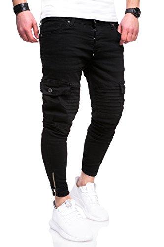 Denim Cargo Jeans (MT Styles Biker Cargo Jeans Hose RJ-5016 [Schwarz, W32/L32])