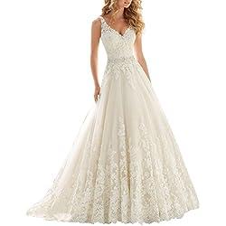 Changjie Mujeres V-cuello una l¨ªnea de vestidos de boda del Applique del cord¨®n 2016 Vestido de novia de la boda