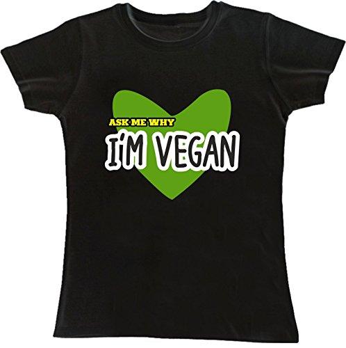 T-shirt DONNA cotone BASIC super vestibilità sagomata top qualità - ASK ME WHY I'M VEGAN divertenti humor MADE IN ITALY (XL, NERO)