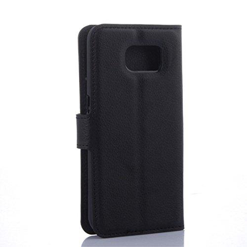 COPHONE® Etui Coque Housse de Protection Noir en Cuir pour Samsung Galaxy S6 Edge Plus Etui porteufeuille Noir Haute qualité pour Samsung S6 Edge Plus