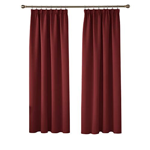 gsvorhang Kräuselband Gardinen Blickdicht Vorhang Blickdicht 175x140 cm Rot 2er Set ()