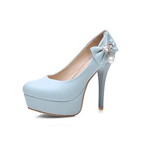VogueZone009 Femme Pu Cuir à Talon Haut Rond Couleur Unie Tire Chaussures Légeres Bleu