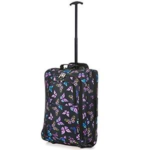 5 Cities 21″/55cm Black Carry On Lightweight Cabin Trolley Bag Hand Luggage u2026 (Navy) Equipaje de mano 55 centimeters 42 Multicolor (Navy)