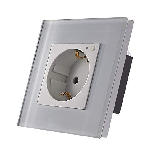 LUX WiFi Smart Steckdose WLAN Wandsteckdose Schuko Alexa für Unterputzdose Weiß Glasrahmen LUX99