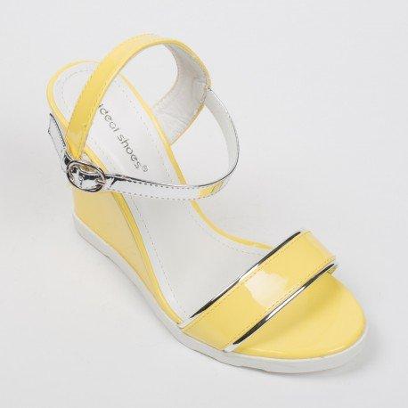 Ideal Shoes - Sandales compensées et vernies avec bride argentée Lalitha Jaune